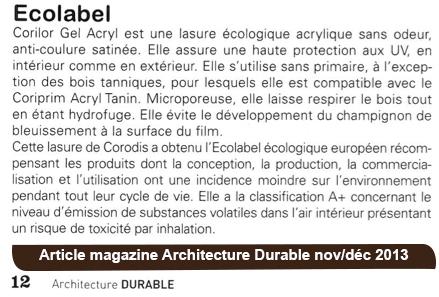 Parquet Bois Dur Ecologique : Lasure � cologique pour bois corilor gel acryl l blanc